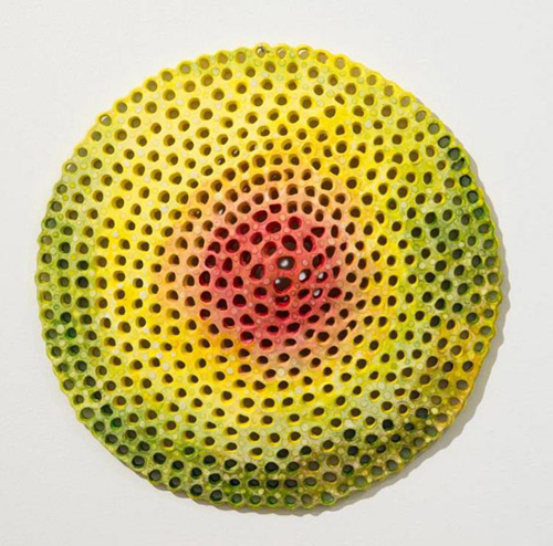 "in Pictures for Joyce Robins at Theodore:Art. Image for Joyce Robins, Red Yellow Cone, 2012, 10"" dia, clay, glaze, paint. Courtesy of Theodore:Art"