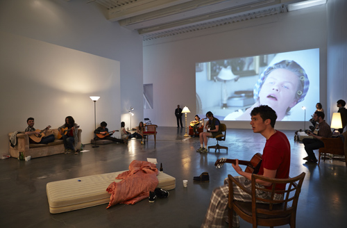 "in Pictures for Ragnar Kjartansson at New Museum. Image for ""Ragnar Kjartansson: Me, My Mother, My Father, and I"" at New Museum, 2014. Courtesy New Museum, New York. Photo: Benoit Pailley."