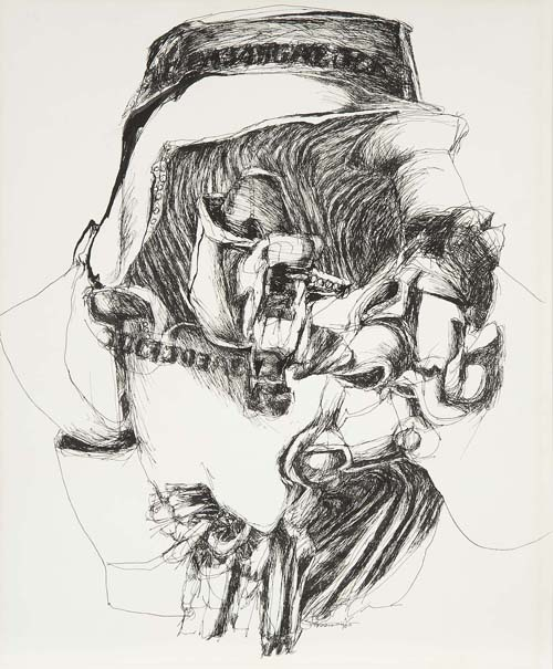 in Pictures for Nancy Grossman at Michael Rosenfeld Gallery. Image for Nancy Grossman (b.1940), Bridey, 1965, black ink on paper, 16 3/4 x 13 3/4 inches (sheet size), 16 1/8 x 13 1/8 inches (sight size), signed and dated. Courtesy of Michael Rosenfeld Gallery LLC, New York, NY.
