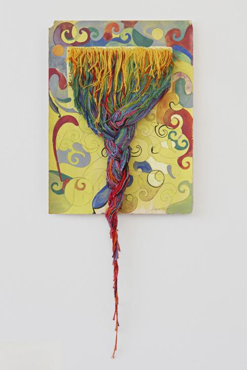 in Pictures for Regina Bogat at Zürcher Studio. Image for Regina Bogat, Threaded piece 3, 1973, Gouache, graphite, threads on paper, 26 x 11 in. Courtesy of Zürcher Studio. Photo: Genevieve Hanson.