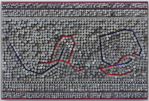in Pictures for Regina Bogat at Zürcher Studio. Image for Regina Bogat, Stardate, 1964, Sculp-metal, acrylic, wood on canvas, 24 x 36 in (61 x 91,5 cm). Courtesy of Zürcher Studio. Photo: Genevieve Hanson.