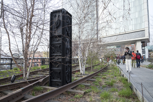 in Pictures for 'Archeo' at The High Line. Image for Isabelle Cornaro, God Box (column), 2014. Part of Archeo, a High Line Commission. On view April 17, 2014 – March 2015 on the High Line, New York. Photo by Timothy Schenck. Courtesy of Friends of the High Line.