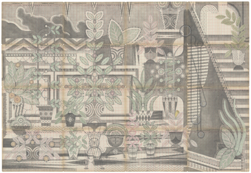 in Pictures for Louise Despont at Pioneer Works. Image for Louise Despont, Garden, 2014, Graphite and colored pencil on antique ledger book pages, 56 1/2 x 82 1/2 inches.
