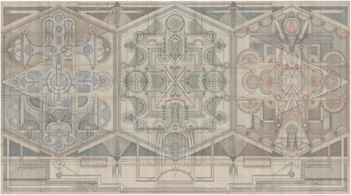 in Pictures for Louise Despont at Pioneer Works. Image for Louise Despont, Roman Room, 2014, Graphite and colored pencil on antique ledger book pages, 82 1⁄2 x 150 inches.