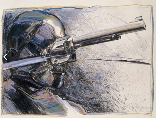 in Pictures for 'Vintage Violence' at Monya Rowe Gallery. Image for Nancy Grossman, Gunhead, 1975-81, oilstick and lithograph on paper, 19.5 by 26.25 inches UF. Courtesy of the artist and Monya Rowe Gallery, New York.