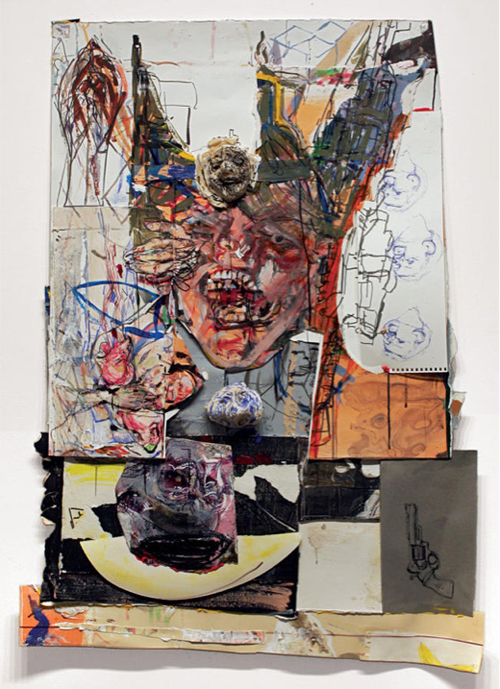 in Pictures for 'Vintage Violence' at Monya Rowe Gallery. Image for Judy Glantzman, Trigger, 2013, mixed media, 44.75 by 33 inches. Courtesy of the artist and Monya Rowe Gallery, New York.