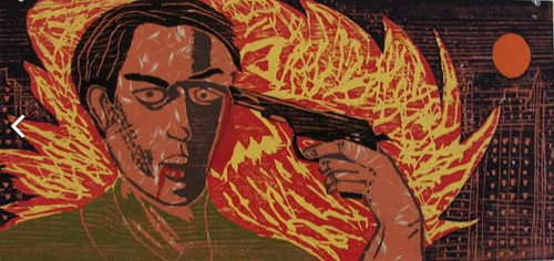 in Pictures for 'Vintage Violence' at Monya Rowe Gallery. Image for Richard Bosman, Suicide, 1981, woodcut, 13 by 28 inches UFImage 10 of 26. Courtesy of the artist and Monya Rowe Gallery, New York.