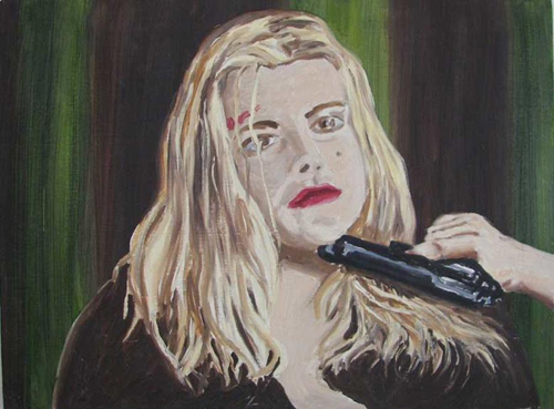 in Pictures for 'Vintage Violence' at Monya Rowe Gallery. Image for Richard Bosman, Femme Fatale, 1997, oil on canvas, 18 by 24 inches. Courtesy of the artist and Monya Rowe Gallery, New York.