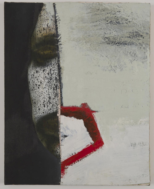 in Pictures for 'Vintage Violence' at Monya Rowe Gallery. Image for Tommy White, Untitled, 2013, oil and staples on canvas, 20 by 16 inches. Courtesy of the artist and Monya Rowe Gallery, New York.