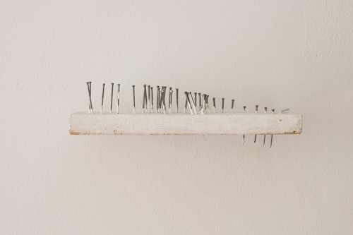 in Pictures for 'Matter to Scale' at Peninsula Art Space. Image for Brian Rattiner, Imaginary Landscape in White, 2013, Nails, wood, gesso, 3 x 8 x 3 inches. Photo by Cameron Blaylock. Courtesy of Peninsula Art Space.