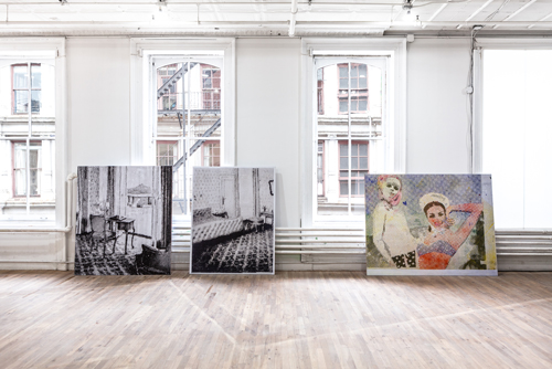 in Pictures for 'Living with Pop. A Reproduction of Capitalist Realism' at Artists Space. Image for Left to right: Sigmar Polke, Interieur (Interior), 1965 / 2013, Archival inkjet print on Canson Fotosatin, mounted on reboard / Sigmar Polke, Schlafzimmer (Bedroom), 1965 / 2013, Archival inkjet print on Canson Fotosatin, mounted on reboard / Sigmar Polke, Freundinnen (Girl Friends), 1965 / 2013, Archival inkjet print on Canson Fotosatin, mounted on reboard, From Living with Pop. A Reproduction of Capitalist Realism, Artists Space, 2014. Photo by Daniel Pérez.
