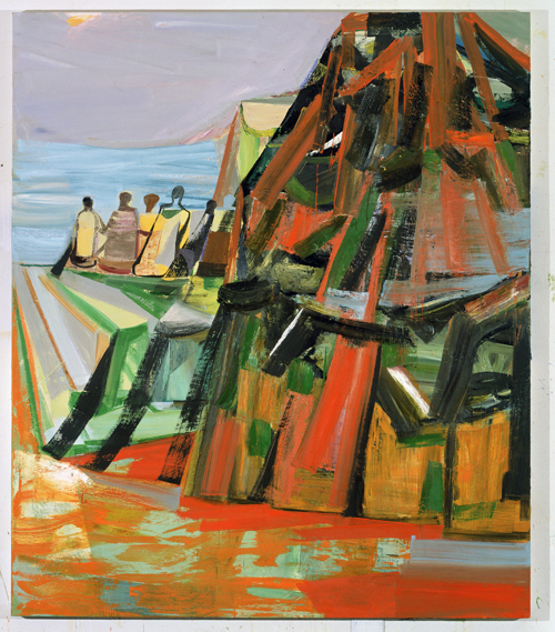 in Pictures for Amy Sillman at CCS Bard / Hessel Museum of Art. Image for Amy Sillman, Regarding Saturna, 2005, Oil on canvas, 84 x 72 inches. Collection of Gregory R. Miller and Michael Wiener, New York. Photo: John Berens.