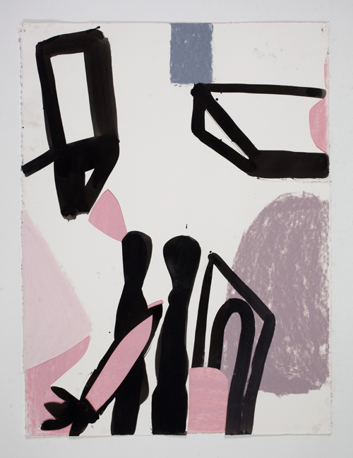 in Pictures for Amy Sillman at CCS Bard / Hessel Museum of Art. Image for Amy Sillman, A Shape that Stands Up and Listens #55, 2012, Ink and chalk on paper, 30 x 22 1/2 inches. Courtesy of the artist and Sikkema Jenkins & Co. Photo: John Berens.