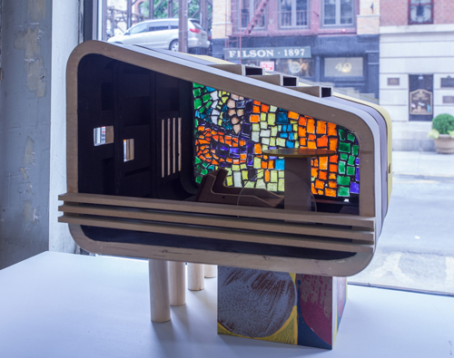 "in Pictures for Ohad Meromi and Jennifer Guidi at Nathalie Karg Gallery. Image for Ohad Meromi, House of Culture, 2010, Glass, concrete, mixed media, 15.25"" x 14.5"". Courtesy of Nathalie Karg Gallery."