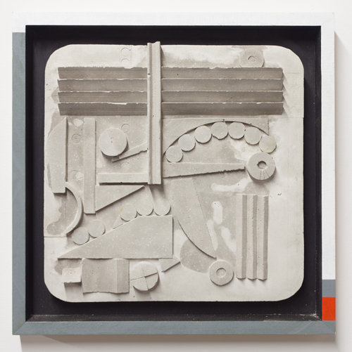 "in Pictures for Ohad Meromi and Jennifer Guidi at Nathalie Karg Gallery. Image for Ohad Meromi, Metope #4, 2013, Concrete, wood, and acrylic, 17"" x 17"". Courtesy of Nathalie Karg Gallery."
