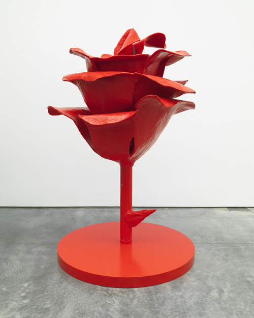 in Pictures for 'Bloodflames Revisited' at Paul Kasmin Gallery. Image for Will Ryman, Rose #1 (Icon Red), 2011, painted aluminum, 71 x 45 x 43 inches (180.3 x 114.3 x 109.2 cm), edition of 8. Image courtesy of the artist and Paul Kasmin Gallery.