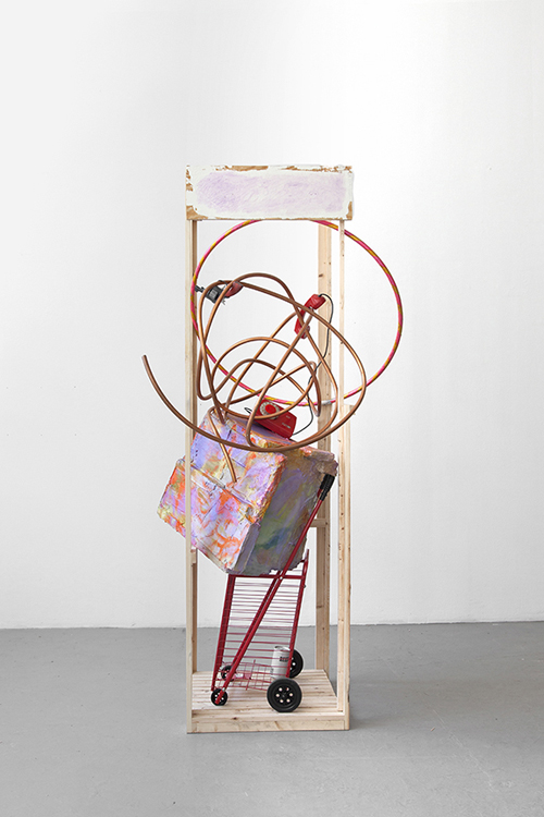 in Pictures for 'A Machinery for Living' at Petzel Gallery. Image for Rachel Harrison, *69, 2014, Wood, Polystyrene, Cement, Acrylic, Shopping Cart, Copper Telephone, Hula hoop, Beer Can and Toy Gun, Courtesy of the Artist and Greene Naftali.