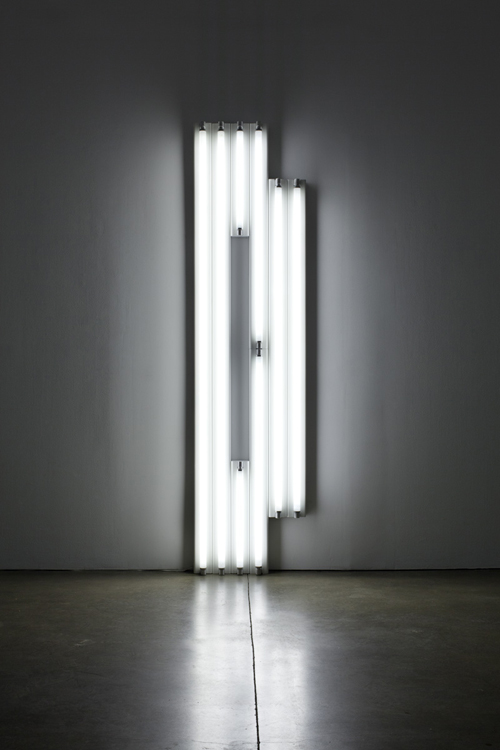 in Pictures for 'A Machinery for Living' at Petzel Gallery. Image for Dan Flavin, Untitled (monument for V. Tatlin), 1967, Cool White Fluorescent Light, Courtesy of the Artist and Paula Cooper Gallery, New York.