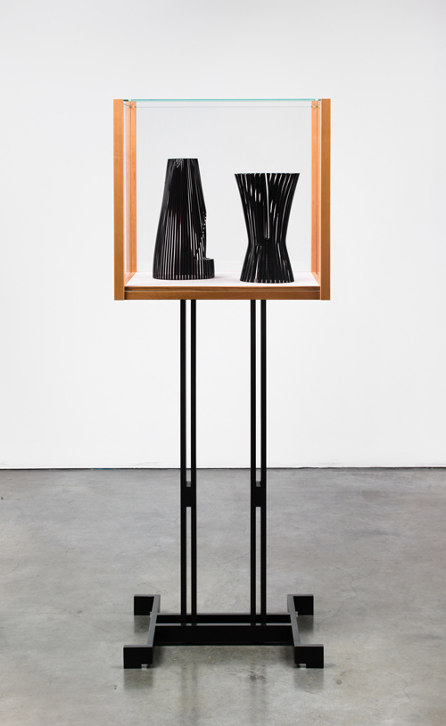 in Pictures for 'A Machinery for Living' at Petzel Gallery. Image for Josiah McElheney, Models for an abstract body (after Delaunay and Malevich), 2012, Patinated Cold-Roll Steel, Cedar Wood, Low Iron Glass, Hand Blown and Carved Glass, Courtesy of the Artist and Andrea Rosen Gallery.