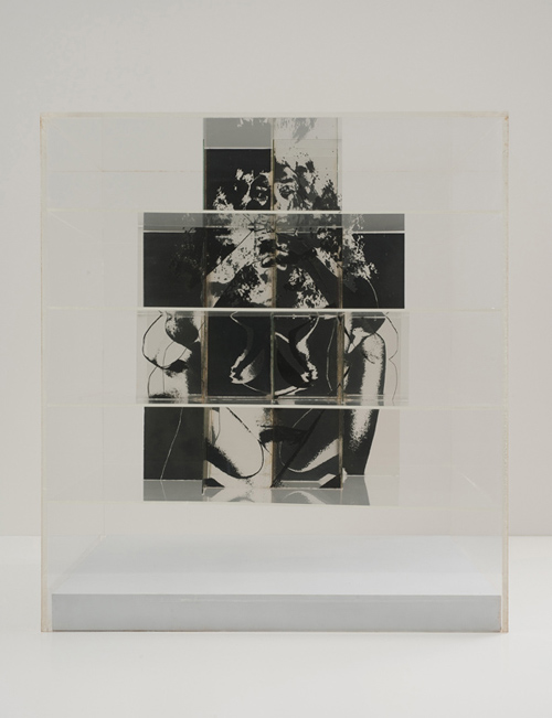 in Pictures for 'The Photographic Object, 1970' at Hauser & Wirth. Image for Jack Dale, Cubed Woman #3 a-b, 1970, Photosensitized glass, Plexiglas, 55.88 x 50.8 x 50.8 cm / 22 x 20 x 20 in © Jack Dale. Courtesy Cherry and Martin. Photo: Robert Wedemeyer.