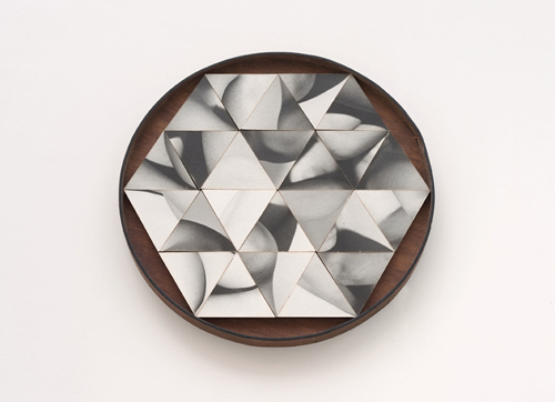 in Pictures for 'The Photographic Object, 1970' at Hauser & Wirth. Image for Robert Heinecken, Multiple Solution Puzzle, 1965, Twenty-four gelatin silver prints on 2-inch wood squares with wood base, 28.58 x 28.58 x 2.54 cm / 11 1/4 x 11 1/4 x 1 in. Courtesy Cherry and Martin. Photo: Bryan Forrest.