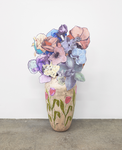 in Pictures for 'Displayed' at Anton Kern Gallery. Image for Marc Camille Chaimowicz, Vase (prototype) and paper bouquet, 1997 - 2014, Vase and paper bouquet, 19 1/8 x 55 1/8 x 15 3/4 inches (48.6 x 140 x 40 cm). Courtesy the artist and Anton Kern Gallery, New York and Andrew Kreps Gallery, New York.