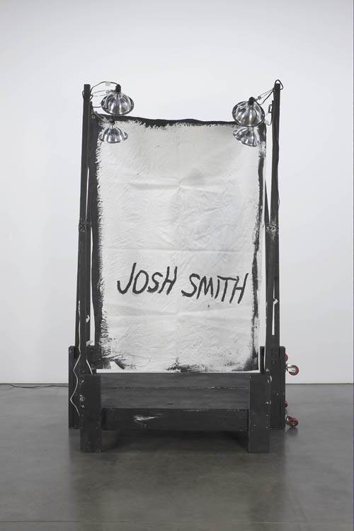 in Pictures for 'Displayed' at Anton Kern Gallery. Image for Josh Smith, Stage Painting 1, 2011, Wood, paint, fabric, lights and hardware, 96 x 68 x 54 inches, (243.84 x 172.72 x 137.16 cm). Courtesy the artist.