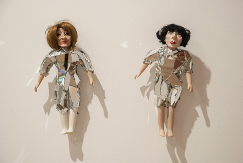 in Pictures for 'This is what sculpture looks like' at Postmasters Gallery. Image for Rachel Mason, Amy Sedaris and PJ Harvey, 2014, polymer clay, acrylic paint, repurposed porcelain doll bodies, synthetic doll hair, fabric, mirror, hot glue, 15 x 8.5 x 4 inches and 16 x 8.5 x 4 inches respectively. Courtesy of Postmasters Gallery.