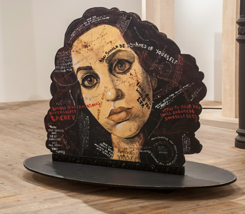 in Pictures for 'This is what sculpture looks like' at Postmasters Gallery. Image for Molly Crabapple, Portraits of myself and Lola Montes with things said about us by our contemporaries, 2014, acrylic on wood, 60 x 80 x 40 inches. Courtesy of Postmasters Gallery.