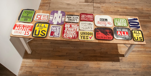 in Pictures for 'This is what sculpture looks like' at Postmasters Gallery. Image for Kate Ostler, Workers Protest Platters, 2013-14, 17 platters glazed ceramics, dimensions variable by piece. Courtesy of Postmasters Gallery.