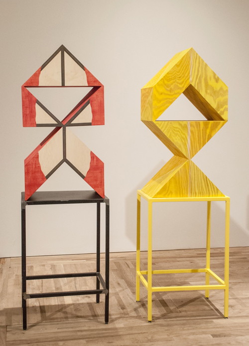 in Pictures for 'This is what sculpture looks like' at Postmasters Gallery. Image for Rachel Beach, Hull and Demi, 2014, both: oil, acrylic plywood, metal stand, 78 x 24 x 17.5 inches each. Courtesy of Postmasters Gallery.