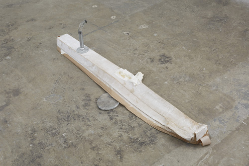 in Pictures for 'Changing Table' at Kate Werble Gallery. Image for Win McCarthy, Changes, 2014, Glass, metal pipe fittings, cardboard, tissue, 54 x 17 x 14 inches. Courtesy of the artist and Kate Werble Gallery, New York. Photo: Elisabeth Bernstein.