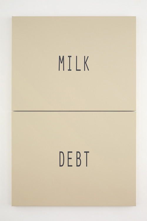 in Pictures for 'Changing Table' at Kate Werble Gallery. Image for Andy Meerow, beige split (milk debt), 2014, Ronan enamel on stretched vinyl, 62 x 41 inches. Courtesy of the artist and Kate Werble Gallery, New York. Photo: Elisabeth Bernstein.