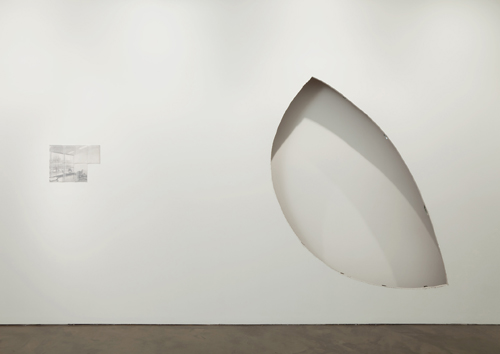 in Pictures for 'Beyond the Supersquare' at The Bronx Museum of the Arts. Image for Diango Hernández (b. Cuba, 1970; based in Hamburg), If a letter in a Wall, if a Cut, 2011, Wall cut - 7.8 feet x 12.6 feet; Pencil on translucent envelops - 12.8 x 9.1 inches. Courtesy of Alexander and Bonin, New York, New York, USA.