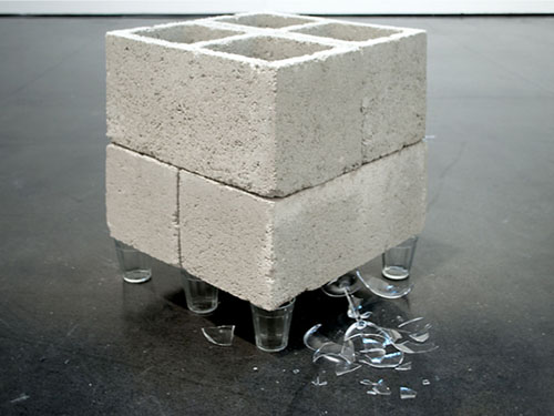 in Pictures for 'Beyond the Supersquare' at The Bronx Museum of the Arts. Image for Andre Komatsu, Base Hierárquica  (United States), 2011/2014, Popular glass, crystal bowl and concrete blocks, Dimensions variable. Courtesy of the artist.