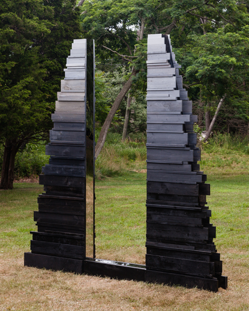 in Pictures for 'Another, Once Again, Many Times More' at Martos Gallery. Image for Lisa Beck, Threshold, 2014, wood, oil paint, and mirror-finished stainless steel. Courtesy of the artist and Untitled Pictures, Inc. Photo by Charles Benton.