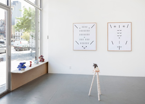 in Pictures for 'If you throw a spider out the window, does it break?' at Brennan & Griffin. Image for Installation View: Joanne Greenbaum (shelf); Al Freeman (wall); Branden Koch (floor). Courtesy of Brennan & Griffin.