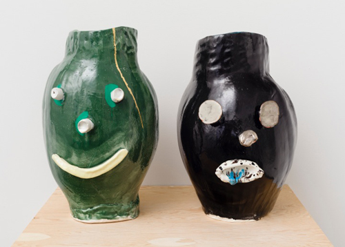 in Pictures for 'If you throw a spider out the window, does it break?' at Brennan & Griffin. Image for Dan McCarthy, Untitled Facepot #87, 2014, Untitled Facepot #86, 2014, Low fire clay and glazes with silver lustre. Courtesy of Brennan & Griffin.