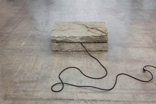 in Pictures for 'The St. Petersburg Paradox' at The Swiss Institute. Image for Giovanni Anselmo, Untitled, 1968. Electric cable, stone, electricity 12 x 35 x 23 in (30 ½ x 89 x 58 ½ cm). Courtesy Marian Goodman Gallery, New York.