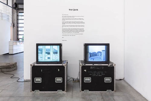 in Pictures for 'The St. Petersburg Paradox' at The Swiss Institute. Image for Douglas Gordon, Bad Faith, 1994. 2 Beta NUM transferred to DVD and cut vinyl letters. Dimensions variable, 45:10 min (left), 65:37 min (right). Courtesy the artist and Yvon Lambert, New York.