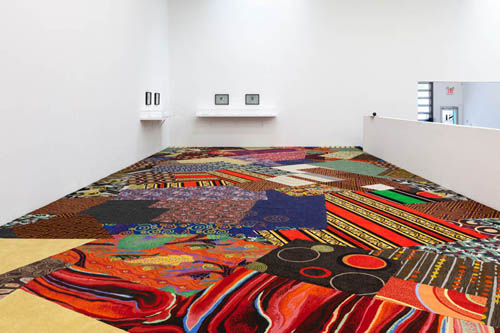 in Pictures for 'The St. Petersburg Paradox' at The Swiss Institute. Image for Cayetano Ferrer, Remnant Recomposition, 2014 Carpet remnants, seam tape 18 x 60 ft (5 ½ x 18 ¼ m). Courtesy the artist.