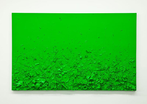 in Pictures for Tom Friedman at Luhring Augustine Bushwick. Image for Tom Friedman, Toxic Green Luscious Green, 2014, Paint and Styrofoam, 60 x 96 x 5 1/2 in. (152.4 x 243.84 x 13.97 cm). Courtesy of the artist and Luhring Augustine, New York.