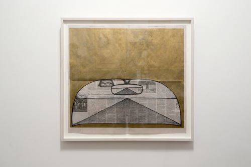in Pictures for 'Zero Point' at Jackie Klempay Gallery. Image for Mark DeMuro, Pencil and acrylic on newspaper. Courtesy of Jackie Klempay Gallery.