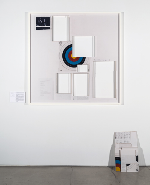 in Pictures for 'Itself Not So' at Lisa Cooley. Image for Ryan Gander, Associative Template # 23 - (And all that chatter around your career) *Debit and Credit by Dan Fox, first published in Frieze, Issue 119, Nov-Dec 2008, 2009, Laser cut handprinted photograph mounted on museum-board, laser cut aluminium backing, laser cut plexiglass, white maple frame and foam-core board legend, 48.45 x 48.45 inches (123 x 123 cm). Courtesy of the artist; Lisson Gallery, London; Lisa Cooley, New York