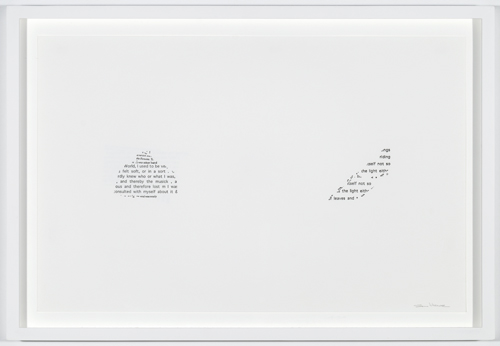 in Pictures for 'Itself Not So' at Lisa Cooley. Image for Susan Howe, Frolic Architecture, 2010, Letterpress print, 11 x 17 inches. Framed: 13.25 x 19.25. Grenfell Press. Courtesy of the artist and Lisa Cooley, New York