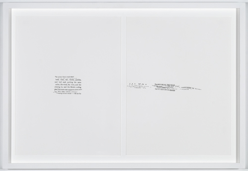 """in Pictures for 'Itself Not So' at Lisa Cooley. Image for Susan Howe, From """"Tom Tit Tot"""" series, 2010, Letterpress print, 12 x 9 inches. Framed: 14.25 x 11.25 inches. Grenfell Press. Published for Yale Union, Portland, 2013. Courtesy of the artist and Lisa Cooley, New York"""