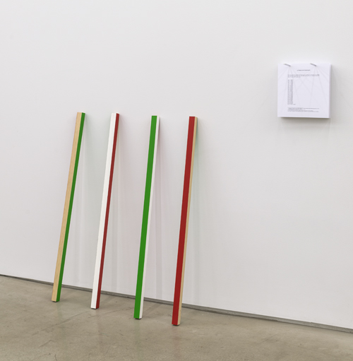 in Pictures for 'Itself Not So' at Lisa Cooley. Image for Julien Bismuth, A train of thought, 2011, Wood and paint, In 4 parts: 39 3/8 x 2 x 2 inches each. Overall dimensions variable. Courtesy of the artist; Simone Subal Gallery, New York; Lisa Cooley, New York