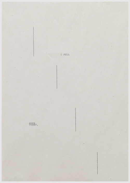 in Pictures for 'Itself Not So' at Lisa Cooley. Image for Sue Tompkins, The Lost Weekend (detail), 2014, Typewritten text on newsprint, In 18 parts: 11.9 x 8.4 inches each. Courtesy of the artist; The Modern Institute, Glasgow; Lisa Cooley, New York