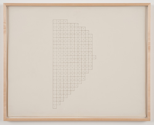 in Pictures for 'Charles Gaines: Gridwork 1974–1989' at The Studio Museum in Harlem. Image for Charles Gaines, Regression: Drawing #1, Group #2, 1973–74, Mechanical ink and pen on paper, 23 × 29 in., 243⁄4 × 303⁄4 in. (framed). Courtesy the artist and Susanne Vielmetter Los Angeles Projects. Photo: Robert Wedemeyer