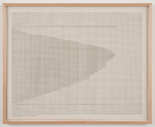 in Pictures for 'Charles Gaines: Gridwork 1974–1989' at The Studio Museum in Harlem. Image for Charles Gaines, Regression: Drawing #6, Group #2, 1973–74, Mechanical ink and pen on paper, 23 × 29 in., 243⁄4 × 303⁄4 in. (framed), Courtesy the artist and Susanne Vielmetter Los Angeles Projects. Photo: Robert Wedemeyer